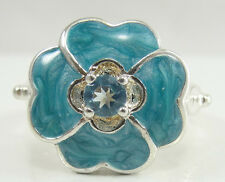 Sterling Silver Enamel Flower Ring Blue Topaz Round Cut Size 7