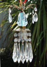1of3 Vintage lantern mini Blue aqua Brass hanging lamp chandelier crystal prism
