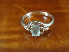 Sterling Silver 925 Ring Size 7 Avon Blue Stone with Leaf Desing