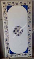 4'x2' Marble White Dining Table Top Lapis Lazuli Floral Marquetry Inlaid E1278