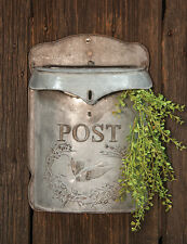 Vintage Looking METAL BIRDHOUSE MAILBOX Galvanized Embossed Flowers and Birds
