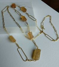 Rosanne Pugliese 22k Yellow Gold and Imperial Topaz long handmade chain necklace