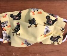 Face Mask w/ Filter pocket-100% Cotton Lightweight Washable-USA-Rooster, Chicken