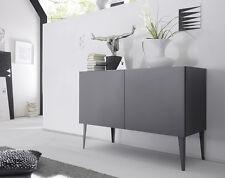 Credenza Moderna, Madia di Design, 2 ante, Grigio Opaco con piedini