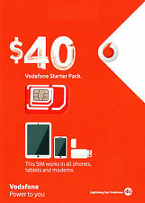 NEW AUSTRALIA VODAFONE PREPAID $40 MULTI FIT SIM CARD PACK KIT 3G 4G NANO MICRO