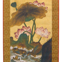 Silk Asian Wall Art Decor Hanging Scroll Pink Lotus Flower Duck Painting Print