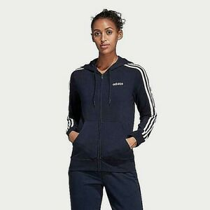 Adidas Women's Essentials 3-Stripes Jersey Full Zip Hoodie Ink XS Free Ship NWT