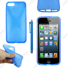 Housse Etui Coque Silicone Motif X Bleu Apple iPhone SE 5S 5 + Stylet
