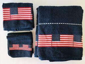 2 Americana Towel Sets Flags Stars & Stripes Jubilee Soft 100% Cotton USA July 4
