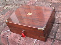SUPERB SMALL ROSEWOOD VICTORIAN  WRITING SLOPE , COMPLETE