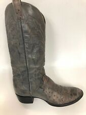Larry Mahan 4115 Olive /Brown Smooth Ostrich Skin Tall Cowboy Boots 10.5-11