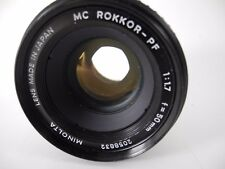 MINOLTA 50mm f/1.7 MC ROKKOR PF LENS PERFECT GLASS SMOOTH FOCUS AND APERTURE