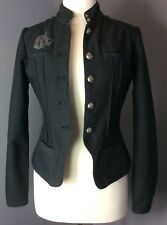 EUC $149 OAKLEY WOMEN'S jacket MOTO Fashion Black Biker MILITARY LOGO XSmall XS