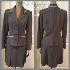 !NEW! MY MICHELLE 2-Piece Skirt Suit Size 7/8 Gray Pink Trim New With Tags!!!