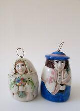 Donna Vaquero Salamander Potttery Porcelain Bell Xmas Ornaments Bride & Groom