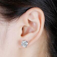 4Ct Round Moissanite Heart Prong Solitaire Stud Earrings 14K White Gold Finish