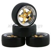 4Pcs RC1:10 On Road Car Drift Smooth Tyre and 12mm Hex 5 Spoke Plating Wheel Rim