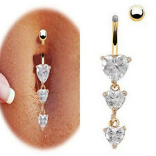Charm Cute 3 Heart Crystal Body Piercing Navel Rings Dangle Belly Button Rings