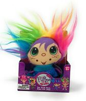 "FlipZee Trolls Mini Plush 3"" Doll Rainbow Hair Flip Zee - Blue Sweater Scarf"
