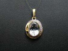 Zarter Aquamarin / Diamant Anhänger aus 585er Gelbgold