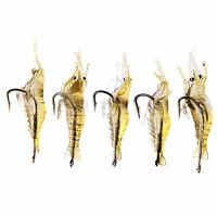 Hot 5 Pcs Lures Bait Shrimp Fishing Simulation Prawn Saltwater Hooks Fish HS