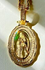 Men's 925 Sterling Silver Oval Mother Virgin Mary Guadalupe Pendant Rope Chain