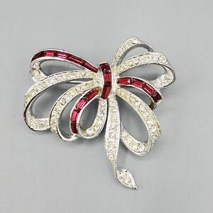 Marcel Boucher Phrygian Cap Numbered Ruby Rhinestone Ribbon Bow Brooch