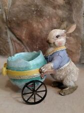NWT RAZ Bunny Rabbit & Blue Egg Shell Cart Basket Spring Easter Figurine Decor