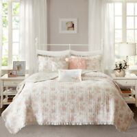 Shabby Chic Coral Floral Ruffles 6 pcs Quilt Cotton Coverlet Cal King Queen Set