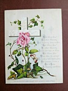 Victorian CHRISTMAS Card Religious Cross GOD BLESS THEE Rose Thorns Ivy JFS & Co