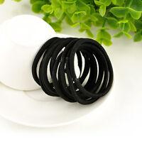 lot 12pcs/set Elastic Hair Tie Band Elastic Rope Ponytail Holder Nylon Black HS8