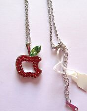 red- silver tone -link chain Fashion Necklace Apple- crystals- green &