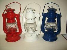 3pc Metal Red White Blue Lantern Cabin Camping Patriotic 4th July Lamp Kerosene