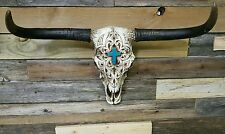 """Western cow skull with turquoise cross n engraving 21"""" × 13"""" home decor"""