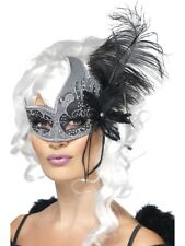 Masquerade Smiffys Fancy Dark Angel  Eyemask in Silver & Black with Feathers