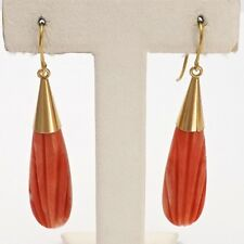 Retro Deco 18k Gold Italy Natural Carved Red Coral Long Dangle Earrings 9.2gr