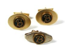 Vintage Gold Tone Initial B. Cufflinks & Tie Clasp Unbranded 72116