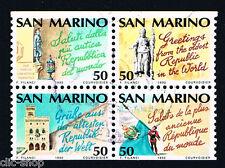 SAN MARINO 4 FRANCOBOLLI ANNO EUROPEO DEL TURISMO 1990 usato