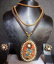 Indian Gold Plated Meenakari Black Drop Pendant Earrings 8'' Chain + Tussle Set/