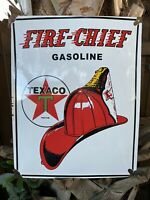 VINTAGE TEXACO FIRE CHIEF PORCELAIN SIGN OIL GAS STATION CURVED TEXAS STAR HAT