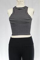 New Free People Womens Seamless Sleeveless Striped Tank Top Cami Black Xs/S $38