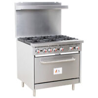 "36"" 6 Burner Commercial Restaurant Natural Gas Range with 1 Oven"