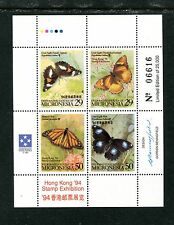 MICRONESIA 190, 1994 BUTTERFLIES, SHEET OF 4 WITH INSCRIPTION,  MNH (MIC003)
