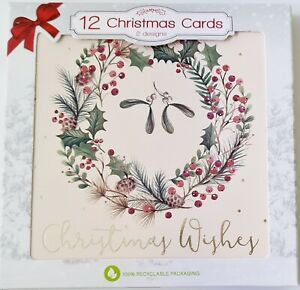 Tree and Wreath Acetate Christmas Cards 12 Pack