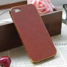 Frame Luxury Leather Chrome Hard Back Case Cover For iPhone 5 5S Brown Gold