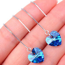 Ladeis Gracious 925Sterling Silver Blue Heart Long Dangle Earrings Jewelry H1260