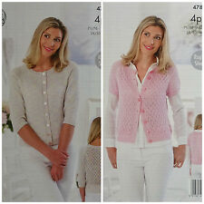 KNITTING PATTERN Ladies Lace Back Lace Front Cardigans Cotton 4ply KingCole 4785
