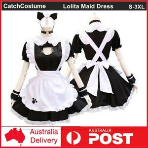 Sexy Lolita Maid Dress Cute Hollow Cat Womens Girls Dress Anime Cosplay Costume