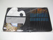 Pochette Trousse Set x12 Pinceaux + Palette Travaux Peinture Acrylique Eau Huile