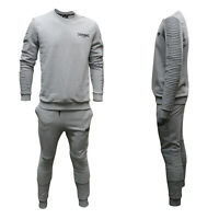 DEFEND LONDON RIBBED ARM STYLE TRACKSUIT SET - GREY MARL MRP £75